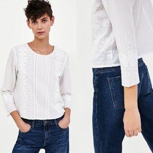 Zara Cotton Embroidered Blouse w/ Pintucks Small